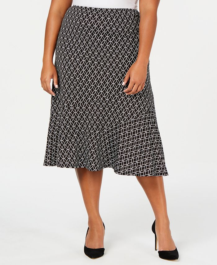 NY Collection - Plus Size Printed Diagonal Tiered Skirt