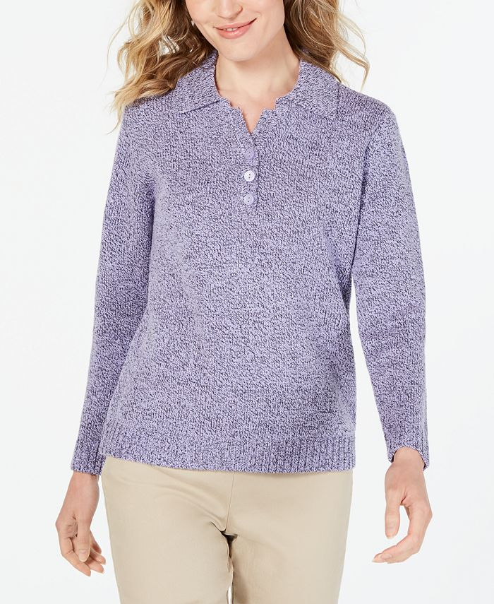 Karen Scott - Petite Point-Collar Sweater