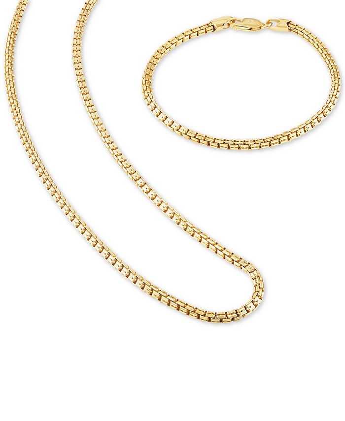 """Esquire Men's Jewelry - 2-Pc. Set Box Link 22"""" Chain Necklace and Bracelet in 14k Gold-Plated Sterling Silver or Sterling Silver"""