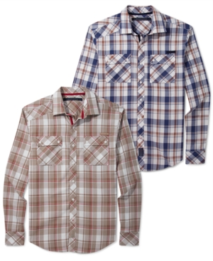 Sean John Big  Tall Shirt Twill Check Long Sleeve Shirt