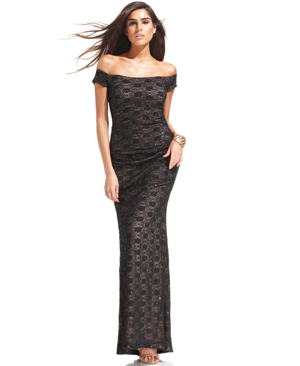 Alex Evenings Off The Shoulder Sequin Lace Gown   Dresses   Women