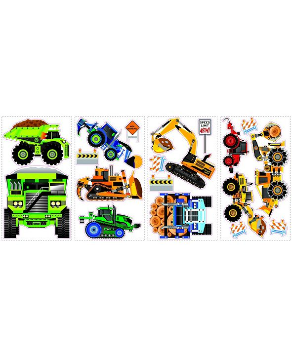 York Wallcoverings New Speed Limit - Construction Vehicles Peel and Stick Wall Decals