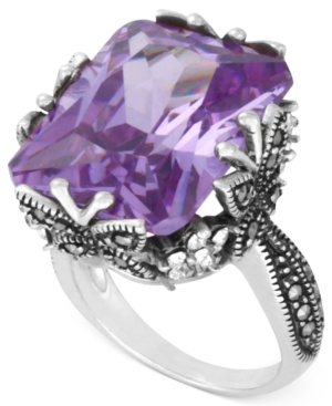 Genevieve & Grace Sterling Silver Ring, Lavender Cubic Zirconia (31-1/2 ct. t.w.) Marcasite and Crystal Butterfly Ring