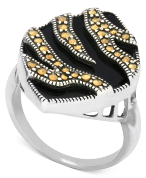 Genevieve & Grace Sterling Silver Ring, Gold Marcasite and Onyx (4-1/2 ct. t.w.) Animal Print Ring