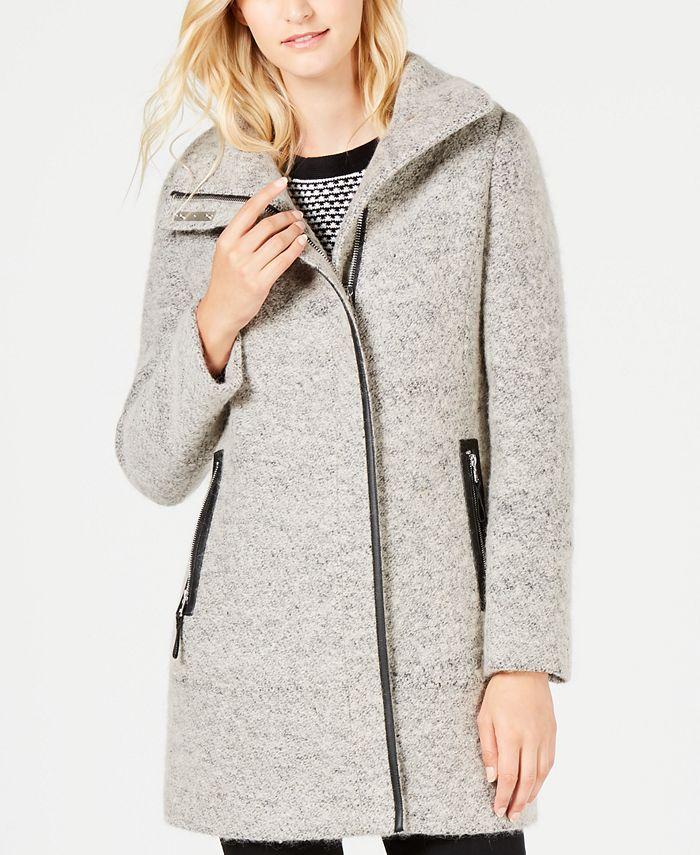 Calvin Klein - Faux-Leather-Trim Bouclé Coat