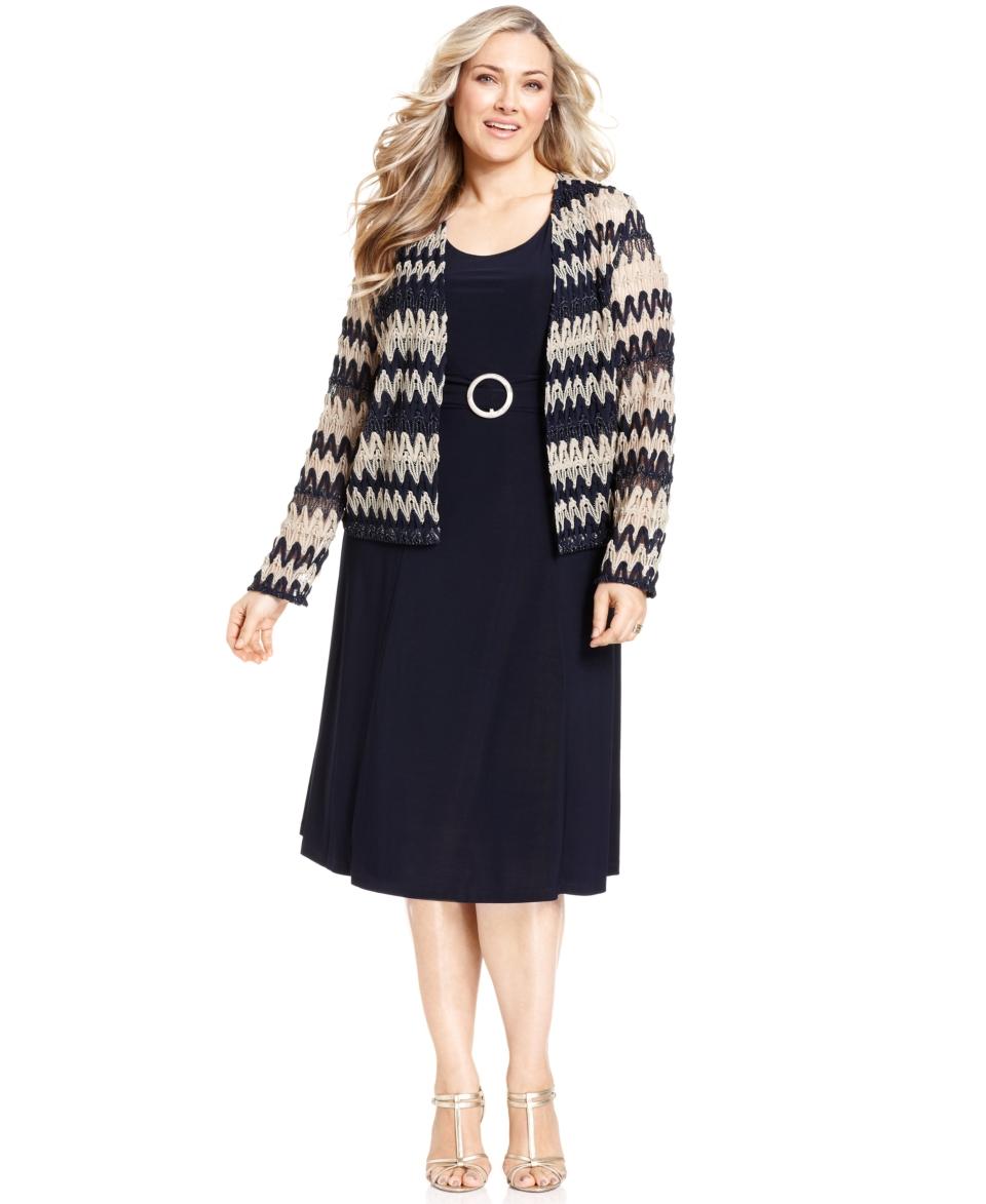 Jessica Howard Plus Size Dress and Jacket, Sleeveless Sheath   Plus