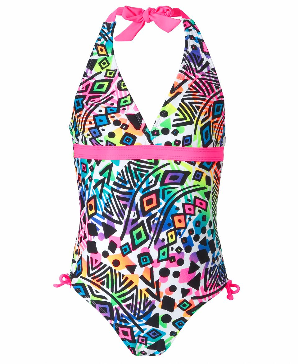 8cf8d1b366 Breaking Waves Kids Swimsuit, Girls One Piece Halter Swimsuit on ...