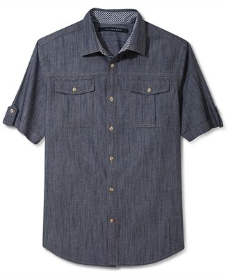 Sean john shirt big and tall chambray shirt casual for Big and tall casual shirts