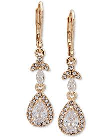 Anne Klein Gold-Tone Crystal Teardrop Chandelier Earrings