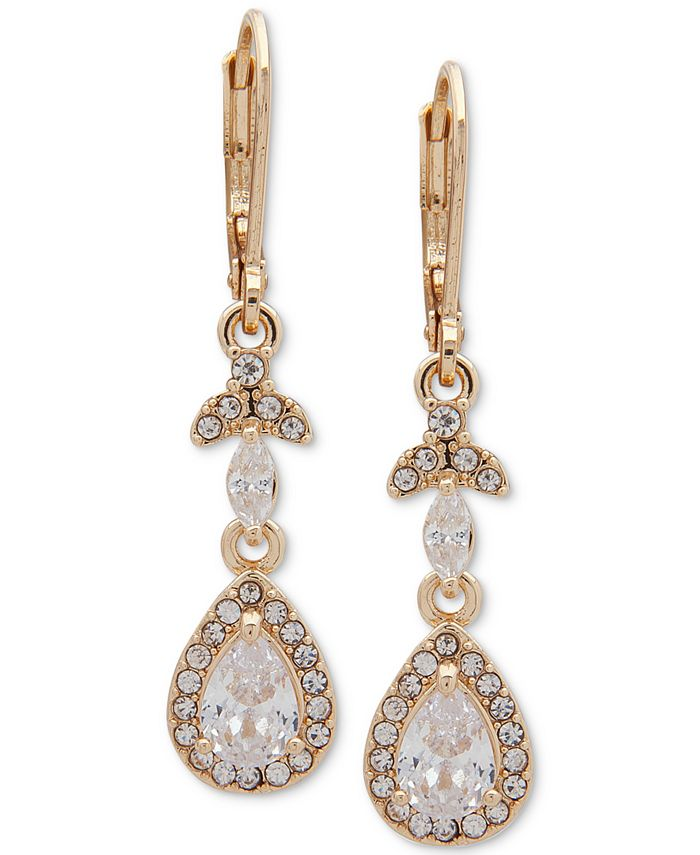 Anne Klein - Gold-Tone Crystal Teardrop Chandelier Earrings