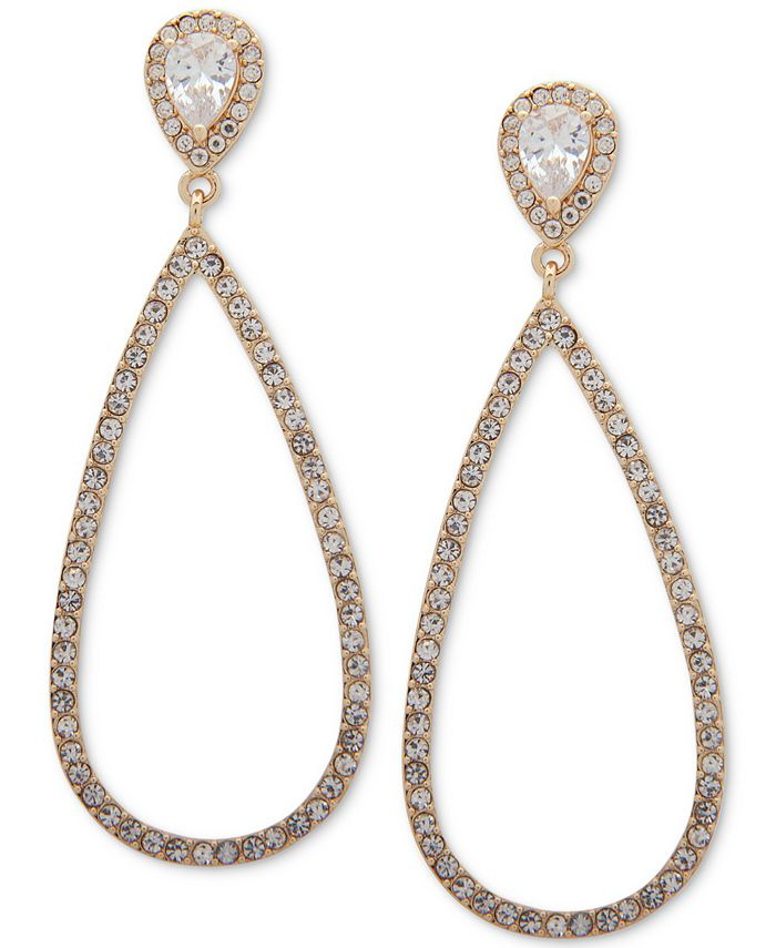 Anne Klein - Gold-Tone Teardrop Crystal Clip-On Earrings