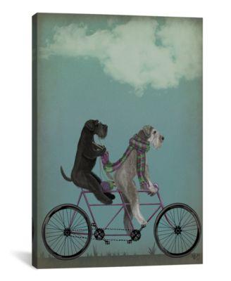 "Schnauzer Tandem by Fab Funky Wrapped Canvas Print - 40"" x 26"""