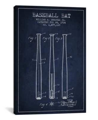 "Baseball Bat Navy Blue Patent Blueprint by Aged Pixel Wrapped Canvas Print - 26"" x 18"""