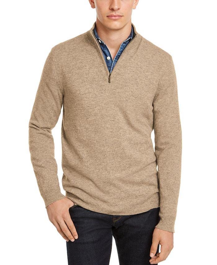 Club Room - Men's Quarter-Zip Cashmere Sweater