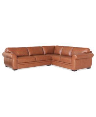 Carmine Leather 2-Piece Sectional Sofa (Sofa and Apartment Sofa ...