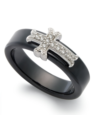 Sterling Silver and Black Ceramic Ring, Diamond Accent Cross Ring