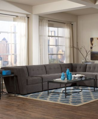 Roxanne Fabric 5-Piece Modular Sectional Sofa (3 Corner Units u0026 2 Armless Chairs) : macys furniture sectional - Sectionals, Sofas & Couches