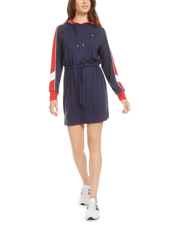 Tommy Hilfiger Sport Hooded Drawstring-Waist Dress – Lapis