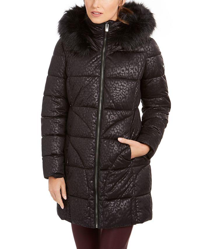 Via Spiga - Animal-Print Faux-Fur Hooded Puffer Coat