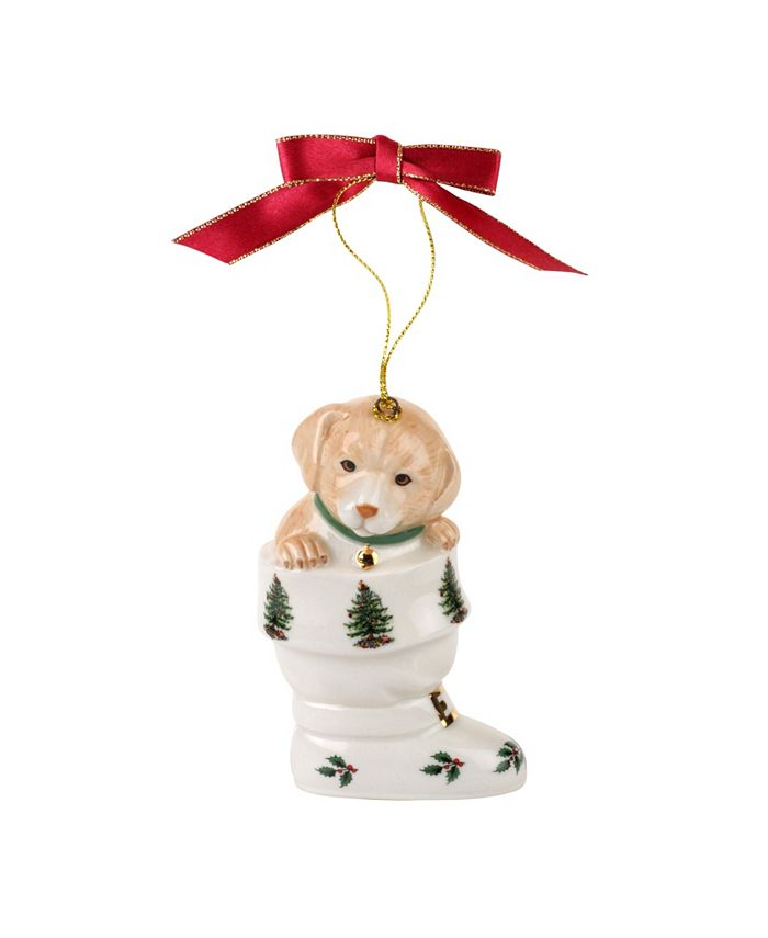 Spode - Christmas Tree Puppy In Boot Ornament