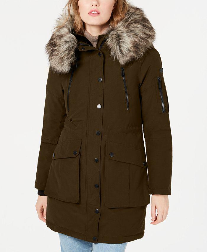 BCBGeneration - Faux-Fur Trim Hooded Anorak Puffer Coat
