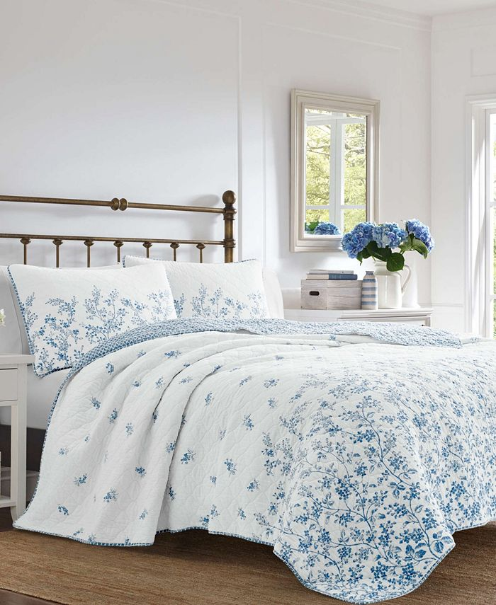 Laura Ashley - Flora Blue Quilt Set, King
