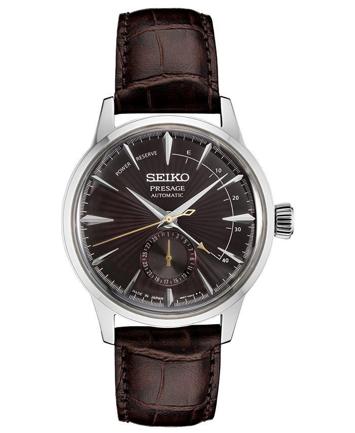 Seiko - Men's Automatic Presage Brown Leather Strap Watch 40.5mm