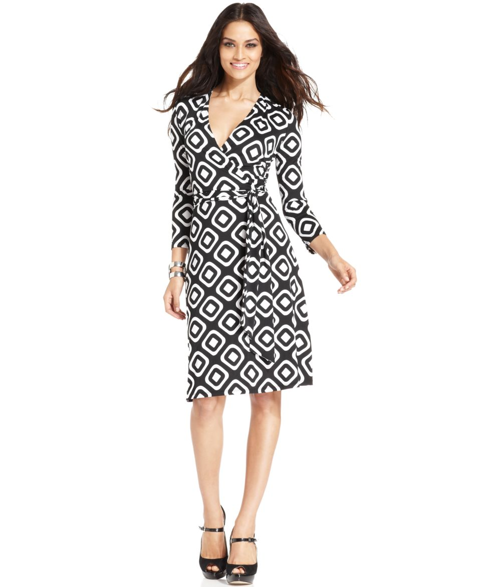 INC International Concepts Dress, Three Quarter Sleeve Mod Print Faux