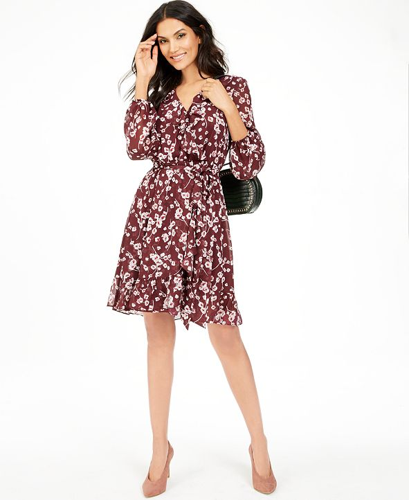 INC International Concepts INC Floral-Print Ruffle Dress, Created for Macy's