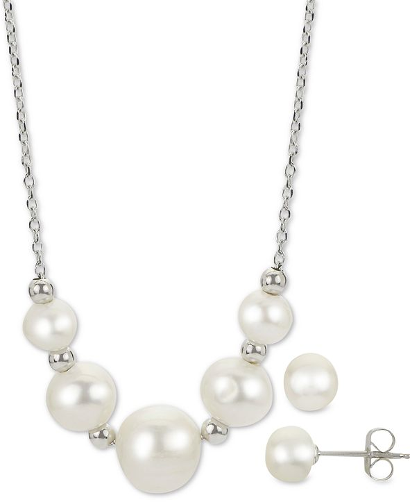 """Macy's 2-Pc. Cultured Freshwater Pearl 18"""" Collar Necklace & Stud Earrings Set in Sterling Silver"""