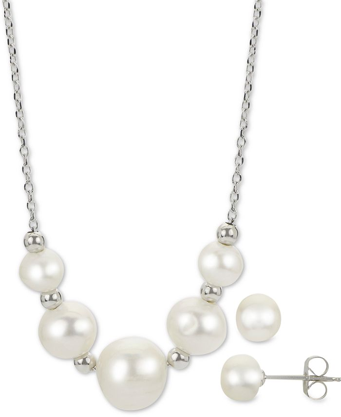 "Macy's - 2-Pc. Cultured Freshwater Pearl 18"" Collar Necklace & Stud Earrings Set in Sterling Silver"