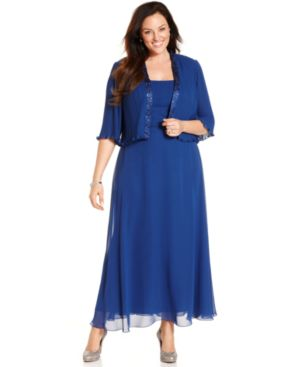 Patra Plus Size Sleeveless Pleated Gown and Jacket