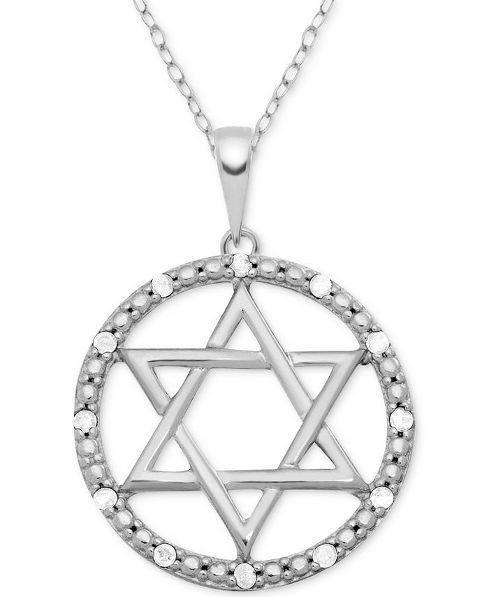 "Macy's - Diamond (1/10 ct. t.w.) Star of David 18"" Pendant Necklace in Sterling Silver"
