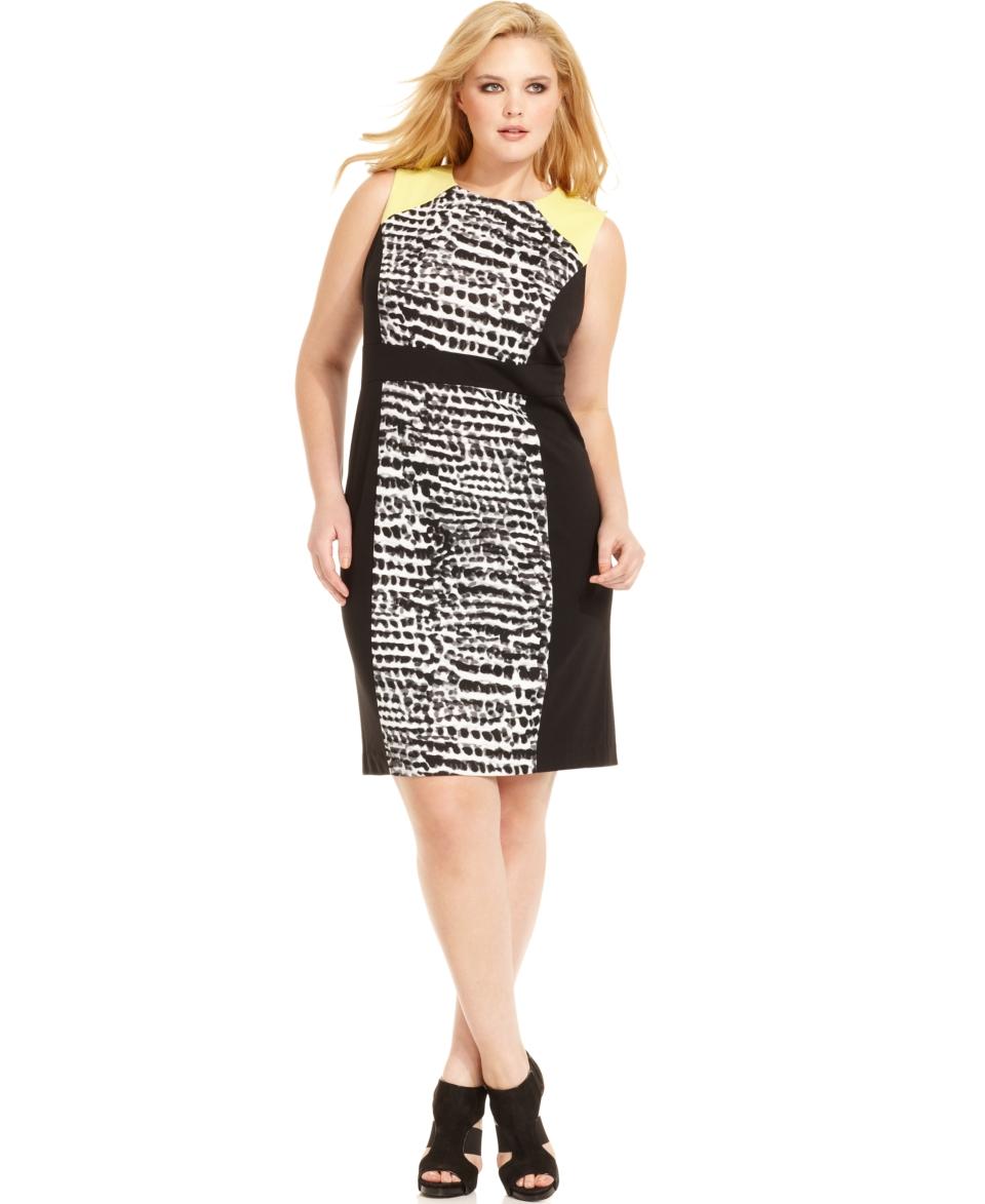 Calvin Klein Plus Size Dress, Sleeveless Printed Colorblocked