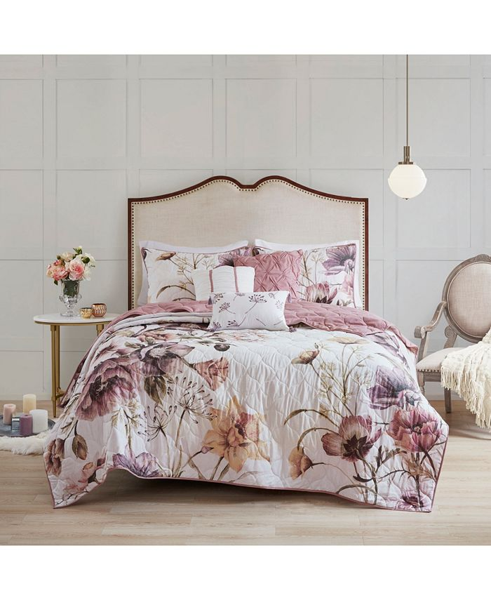 Madison Park - Cassandra Full/Queen 6 Piece Floral Print Reversible Cotton Quilted Coverlet Set