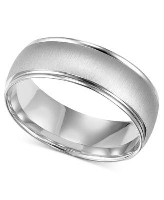 Menu0027s 10k White Gold Ring, 6 1/2mm Wedding Band