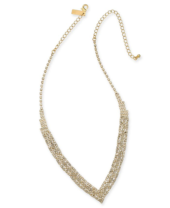 "INC International Concepts - Gold-Tone Rhinestone V-Shape Necklace, 11"" + 3"" extender"