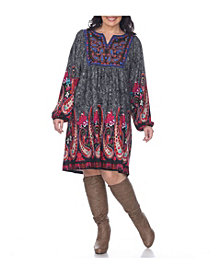 White Mark Women's Plus Size Apolline Embroidered Sweater Dress