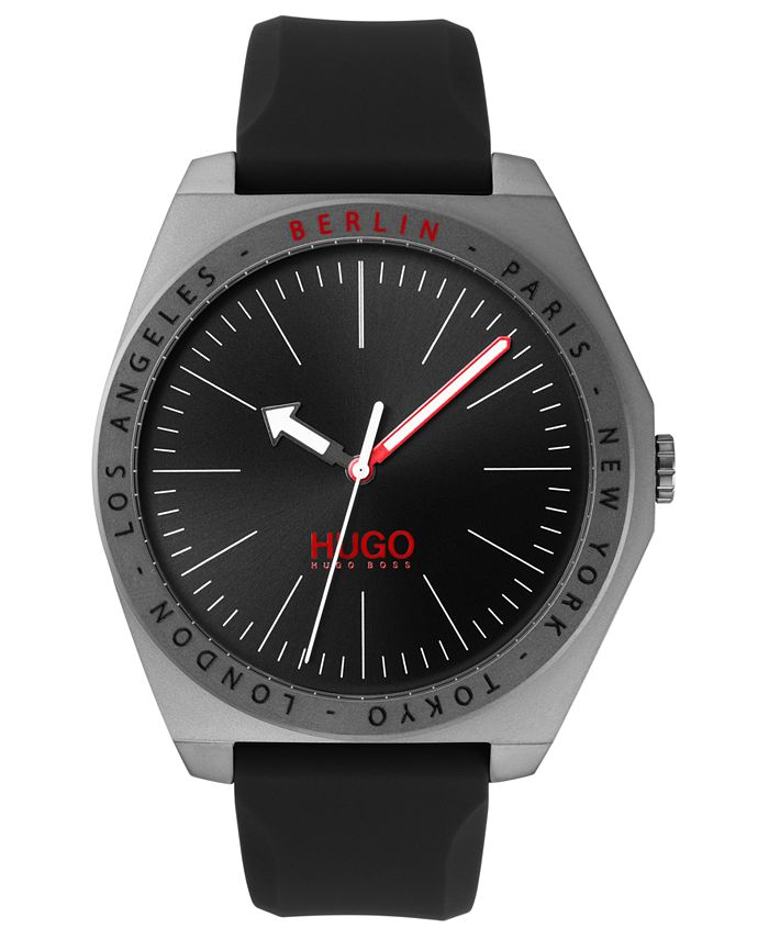 HUGO - Men's #Act Black Silicone Strap Watch 44mm