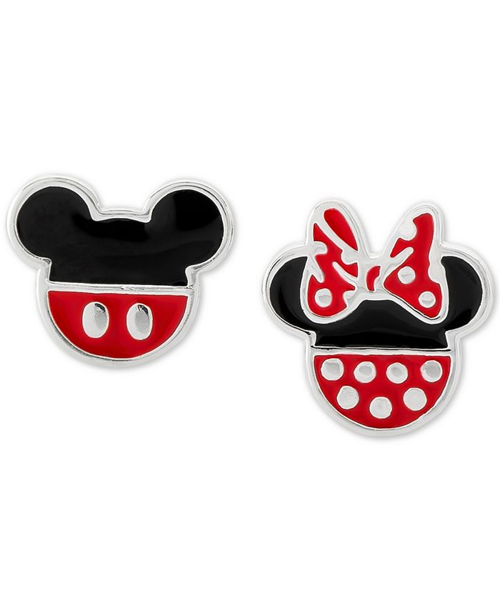 Disney - Minnie & Mickey Mouse Mismatched Stud Earrings in Sterling Silver