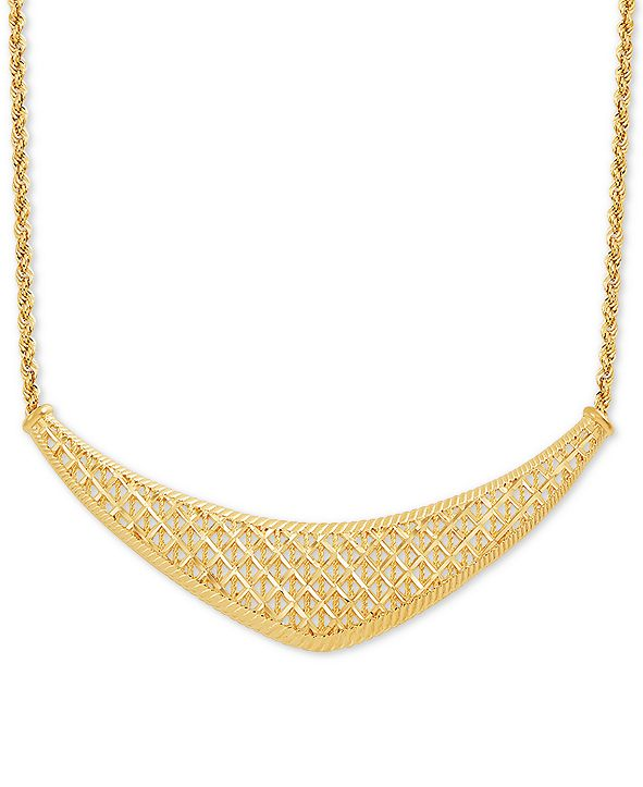 "Macy's Rope Lattice 18"" Statement Necklace in 10k Gold"