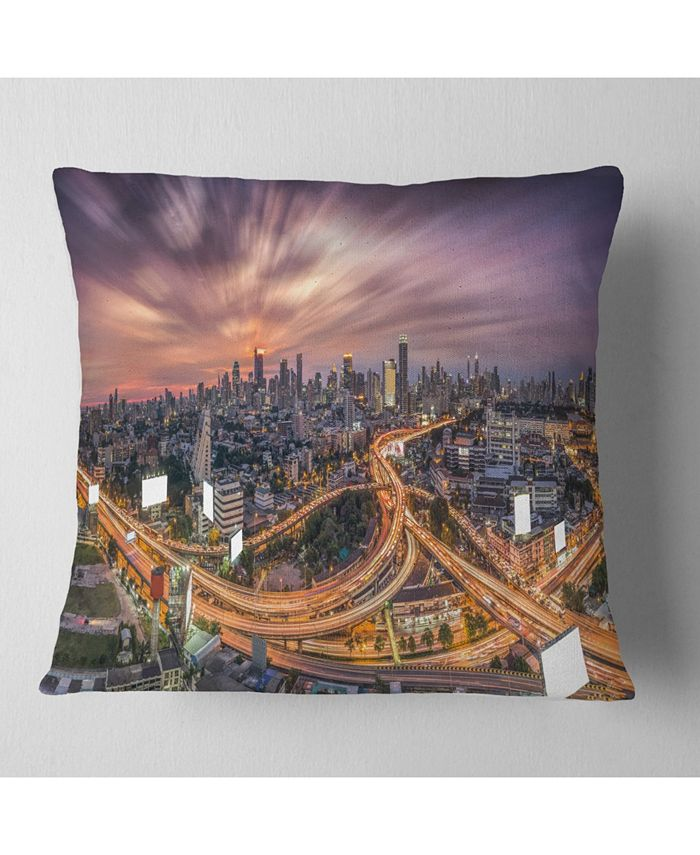 Design Art Designart Bangkok S Shaped Express Way Cityscape Throw Pillow 16 X 16 Reviews Decorative Throw Pillows Bed Bath Macy S