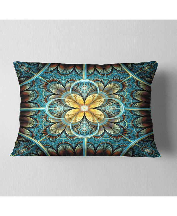 Design Art Designart Blue And Yellow Large Fractal Flower Design Floral Throw Pillow 12 X 20 Reviews Decorative Throw Pillows Bed Bath Macy S