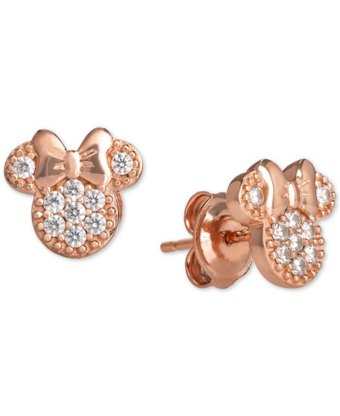 Disney Children's 2-Pc. Set Cubic Zirconia Pavé Minnie Mouse Pendant Necklace & Matching Stud Earrings in 18k Rose Gold-Plated Sterling Silver & Reviews - Jewelry & Watches - Macy's