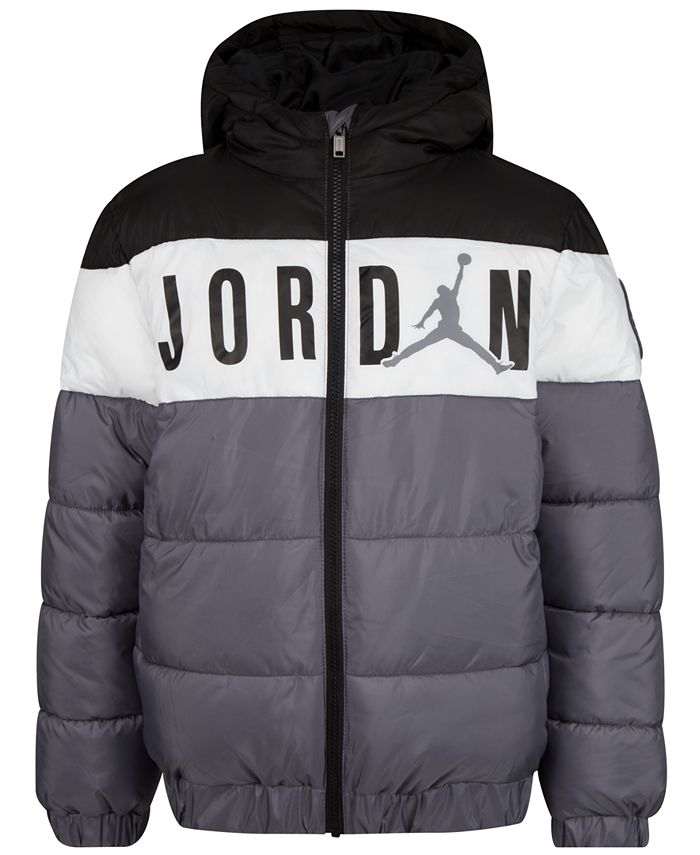 Jordan - Little Boys Colorblocked Hooded Puffer Jacket