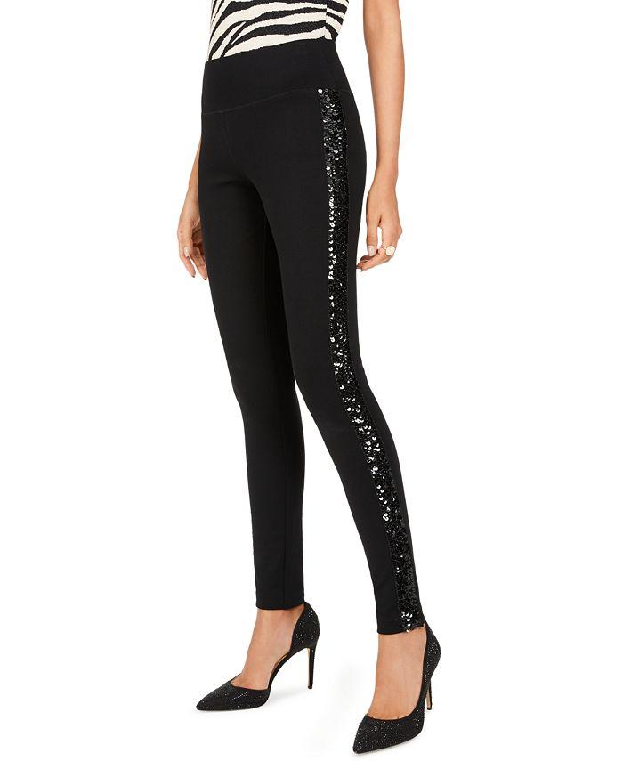 INC International Concepts - Sequin-Trim Pull-On Ponte Pants