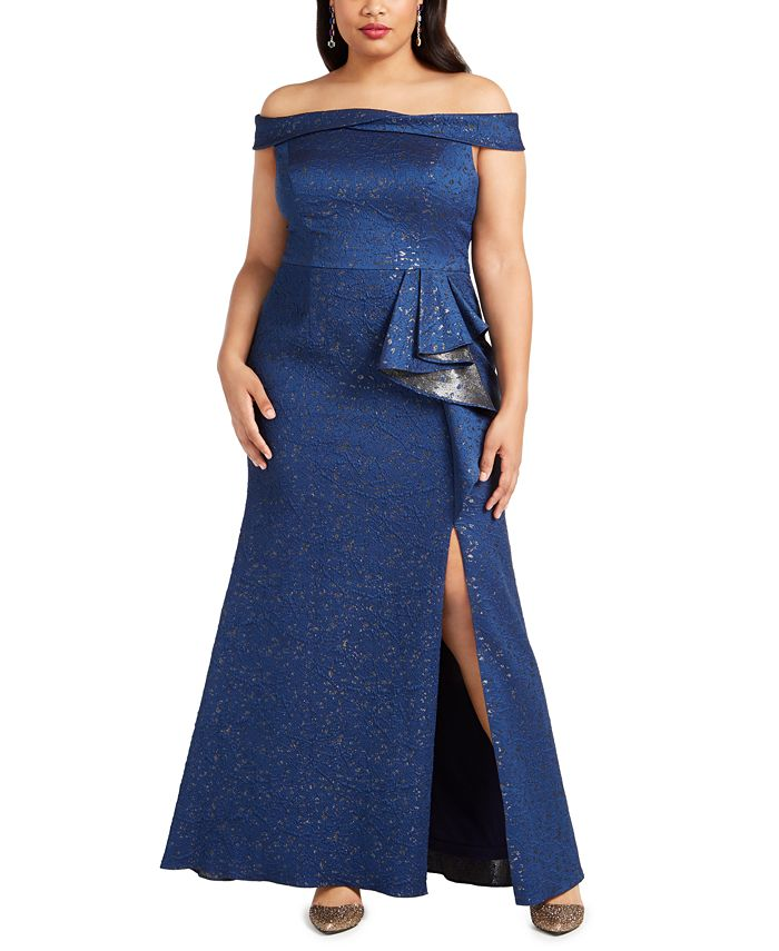 Adrianna Papell - Plus Size Off-The-Shoulder Metallic Gown