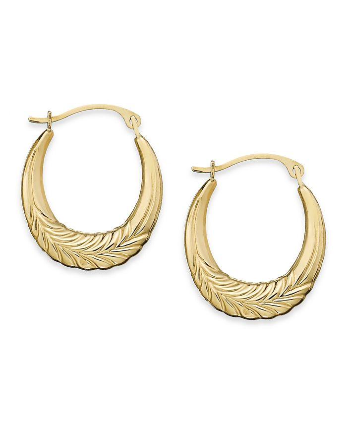 Macy's - 10k Gold Earrings, Chevron Hoop Earrings