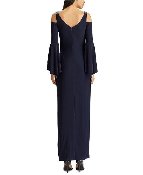 Lauren Ralph Lauren Cold Shoulder Evening Gown Reviews Dresses Women Macy S