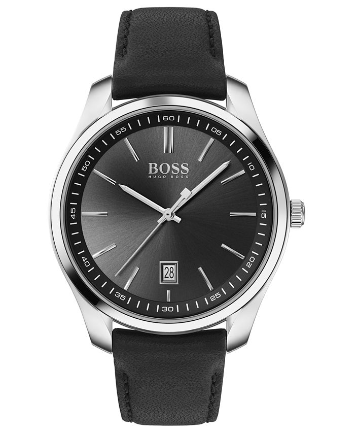 BOSS - Men's Circuit Black Leather Strap Watch 42mm